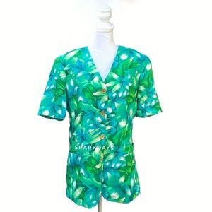 Leslie Fay Green Leaves Floral Blazer Jacket | 16